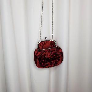 Handbags - Burgundy satin cross-body evening bag